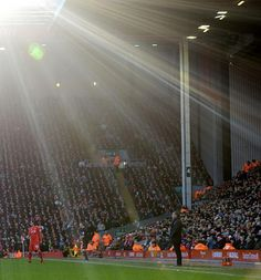 The God shines down on Liverpool Manager Brendan Rodgers at Anfield. Anfield Liverpool, Liverpool Home, Liverpool Football Club, But Football, Premier League Soccer, This Is Anfield, Brendan Rodgers, English Premier League, Red Army