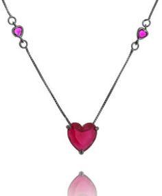 comprar colar de coração com banho de rodio negro corrente tiffany e pedra rubi semijoias online