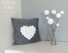 Heart and flowers - pompom decoration