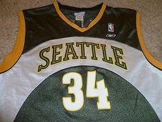 0bb0c7161 VINTAGE SEATTLE SONICS BASKETBALL JERSEY RAY ALLEN LARGE REEBOK SUPERSONICS  NBA Basketball Jersey
