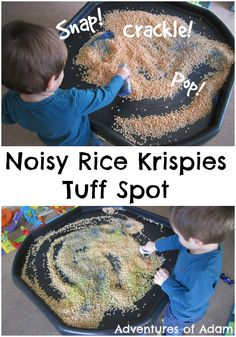 Noisy Rice Krispies Tuff Spot This activity, as part of our sense of hearing week, is inspired by an Adventures of Adam reader. Our Noisy Rice Krispies Tuff Spot was incredibly easy to Senses Activities, Eyfs Activities, Nursery Activities, Work Activities, Infant Activities, Indoor Activities, Activities For 2 Year Olds At Nursery, Family Activities, Listening Activities