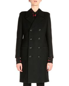 Double-Breasted Militaire Coat by Saint Laurent at Neiman Marcus.
