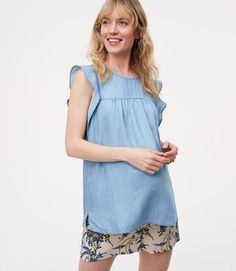 Primary Image of Petite Maternity Chambray Pintucked Flutter Shell