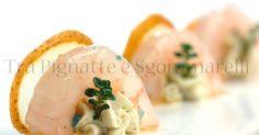 Crudo di gambero gobbo, con ricotta ai pistacchi, sfoglia di pera e olio al lemon grass | Tra Pignatte e Sgommarelli
