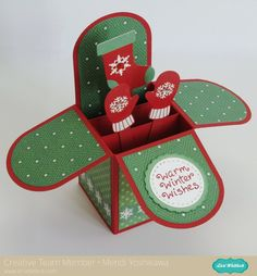 An Echo Park Christmas Cheer Box Card by Mendi Yoshikawa - Scrapbook.com - Love this Christmas Card in a box - so clever!