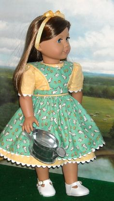 90557ddff4 1930s 1940s Duck Print Apron w  Dress for 18 inch Girls like Molly