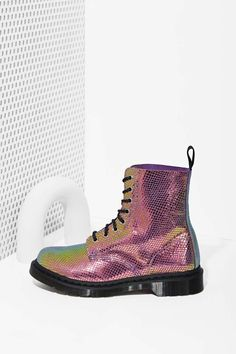 Doc Martens Pascal 8-Tie Boot - Iridescent | Shop What's New at Nasty Gal