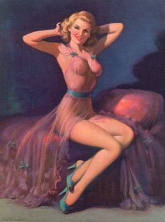 La cama | Art Frahm Pin-Up artist | Ladies in distress #Pin-Ups #Ladies #Distress #deFharo #Vintage #Posters #Girls