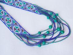 Ethnic bib necklace Beaded ukraine necklace Long geometric necklace Fashion statement necklace Gypsy bright necklace Boho chic style by Bijounatalyza on Etsy
