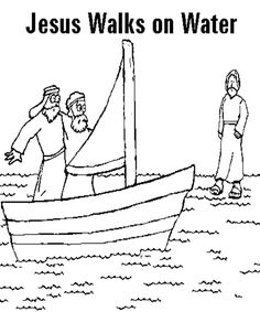 1000 images about bible activity and printouts on for Jesus walks on water coloring pages