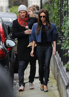 David Beckham Holds Harper During a Day Out With Victoria | Pictures