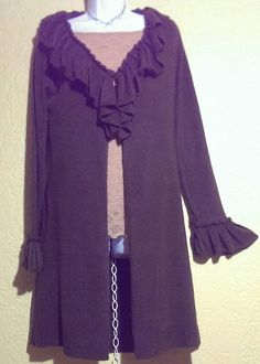 """""""Vintage Suzie"""" Solid Brown Longsleeve Top~Size M~Fits Bust: 40""""~NWOT~Stretches #VintageSuzie #KnitTop #Casual"""