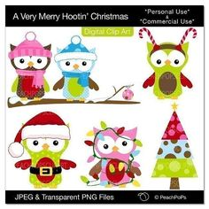 Christmas clip art owl digital clipart birds owls tree - A Very Merry Hootin Christmas - Digital Clip Art - Personal Commercial Use on Etsy, $5.00