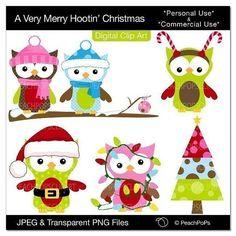 Christmas clip art owl digital clipart birds owls tree - A Very Merry Hootin Christmas - Digital Clip Art - Personal Commercial Use on Etsy, $5.00