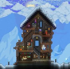 I made the Tinkerer and the Mechanic a winter cabin to live together in (shoutout to u/BlueJayTGaming, his cabin build gave me some ideas, especially for the staircases :) : Terraria Terraria House Design, Terraria House Ideas, Terraria Tips, Gallery Wall Staircase, Modern Staircase, Staircase Design, Winter Cabin, Winter House, Ikea Tv Unit