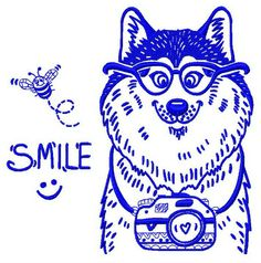 Wolf the photographer 2 machine embroidery design. Machine embroidery design. www.embroideres.com