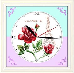 Good Value Cross Stitch Kits Beginners Kids Advanced Flower Clock 11 CT 15X15 DIY Handmade Needlework Set CrossStitching Accurate Stamped Patterns Embroidery Home Decoration Frameless * Be sure to check out this awesome product affiliate link Amazon.com