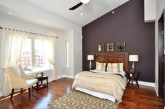 accent wall for master bedroom | after the wine colored accent wall give this master bedroom