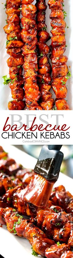 These+BBQ+Chicken+Kebabs+are+my+go-to+grill+recipe+with+the+most+amazing+barbecue+sauce!+Everyone+always+asks+me+for+the+recipe+and+they+are+easy+too!+via+@carlsbadcraving