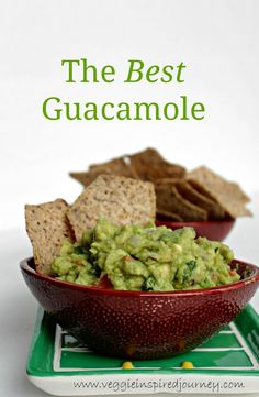 The BEST Guacamole - simple and easy. The perfect dip for chips, crackers or raw veggies or use it top baked potatoes, soup, chili, etc. Raw Food Recipes, Mexican Food Recipes, Vegetarian Recipes, Cooking Recipes, Healthy Recipes, Vegan Foods, Vegan Snacks, Healthy Snacks, Vegan Dishes