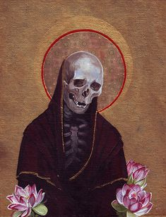 Icon depicting a robed skeleton with lotus flowers, backing in gold. Acrylic on canvas.