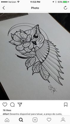 Owl Tattoo Design Ideas The Best Collection Top Rated Stylish Trendy Tattoo Designs Ideas For Girls Women Men Biggest New Tattoo Images Archive Owl Tattoo Drawings, Doodle Art Drawing, Cool Art Drawings, Pencil Art Drawings, Tattoo Sketches, Doodling Art, Doodle Art Journals, Mandala Drawing, Bird Drawings