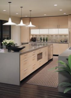 Great color scheme, super clean cabinetry, dark floors, gray quartz counter tops down to floor. Would add colorful lights