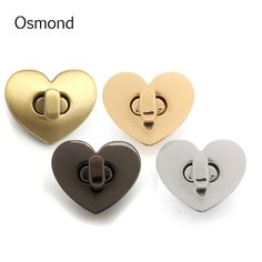 Osmond Alloy Twist Turn Lock For DIY Handbag Turn Lock Snap Clasps Closure Bag Accessories Parts Buckle Purse Bags Heart Button