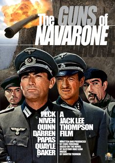 THE GUNS OF NAVARONE (1961) - Gregory Peck - David Niven - Anthony Quinn - Irene Papas - Anthony Quayle - Based on novel by Allistair McLain - Directed by J. Lee Thompson - Columbia Pictures - DVD cover art.