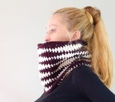 Chevron Chunky Scarf Cowl / Unisex Eggplant  And by Accessodium