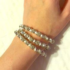 Wrap around rhinestone bracelet with white rope Great when you're tan! Jewelry Bracelets