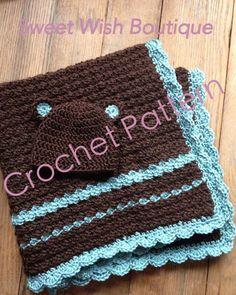 Instant Download PDF Pattern - Crochet Baby Blanket/Hat Set by SweetWishBoutique, $5