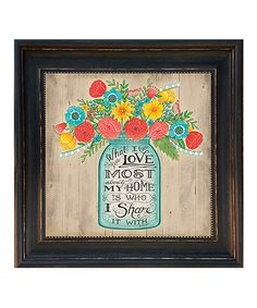 Another great find on #zulily! 'What I Love Most About My Home' Framed Wall Sign #zulilyfinds