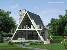 Modelo de casa alpina A-frame imagen de renderizado