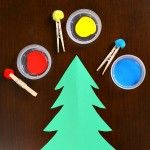 Pom Pom Painting Christmas Tree Craft for Toddlers