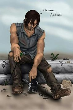 Omg this is the most adorable Daryl fanart I've ever seen. Especially since Norman loves cats.