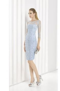 bdffcd40e89 Marfil knee length powder blue dress with lace overlay throughout. Product  code  1J1A3 Blue