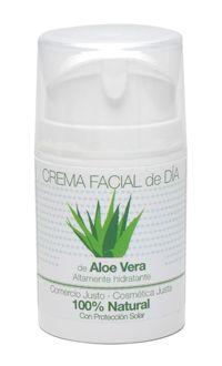 Crema facial de día de Aloe Vera. 50 ml. Producto certificado 100% natural Crema con una muy alta concentración de aloe vera para la nutrición y hidratación profunda de la piel. Indicada para todo tipo de piel. Con factor de protección FPS=8