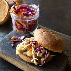 Slow Cooker Cider-Braised Pulled Chicken-Apple Sandwiches Recipe   Weight Watchers Weight Watchers Chicken, Weight Watchers Smart Points, Weight Watchers Meals, Apple Sandwich, Crockpot Recipes, Ww Recipes, Slow Cooker Recipes, Chicken Recipes, Cooking Recipes