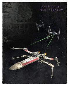 Star Wars X-wing vs Tie Fighter 8 x 10 11 x 14 ou par aswegoArts