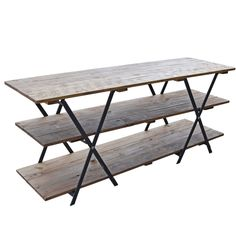 Furniture, : Engaging Picture Of Rustic Solid Distressed Wood Black Iron Table Top Shelving As Furniture For Living Room And Home Interior Decoration Design Ideas