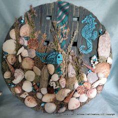 Beach bushel top Decor with Sea horse and by CarmelasCoastalCraft, $35.00
