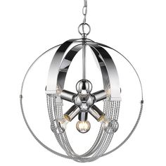 Golden Lighting Carter Chrome Pendant Light Modern/Contemporary Globe Pendant Light at Lowe's. Our Carter Collection is all about balance and equilibrium. The twisted rope details add a feminine touch to balance the bold, masculine frames. Globe Pendant Light, Bronze Pendant, Modern Pendant Light, Foyer Lighting, Pendant Lighting, Sputnik Chandelier, Lighting Ideas, Chandeliers, Light In
