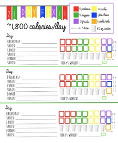 21 Day Fix Meal Tracking Sheet for 1,800 Calorie Bracket. Track your containers, water intake and workouts on one easy sheet! 21 Day Fix Tally Sheet