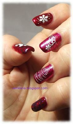 China Glaze Just Be-Claws, Santa Red My List, Be Merry, Be Bright, decals #nails #nailart