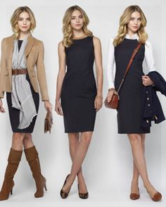 Brooks Brothers Fall 2012. 1 dress, 3 ways. So useful for extending a work wardrobe.