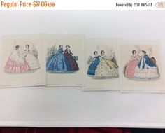 """ONE WEEK QUICK Sale: Victorian Litho 1971 Decorator Craft Cards -lot of7- Beautiful Vintage Paper Prints - each about 4"""" x 3"""" by CellarDeals on Etsy"""