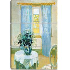 Design Art 'Anna Ancher - Interior with Clematis' Art Print - 32Wx26H Inches - 3 Panels