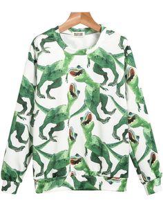 Green Long Sleeve Dinosaurs Print Sweatshirt - Sheinside.com Mobile Site