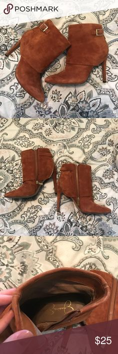 Jessica Simpson Tan boogie heels Tan, faux suede (I'm assuming) high heel hotties with gold detail and zips on the inside. Barley worn. Super cute! I'm just not a heels girl! Check out the rest of my closet and bundle! Everything must go before march 12 2017!! Jessica Simpson Shoes Ankle Boots & Booties